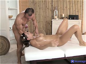 Satin Bloom gets a yam-sized man sausage prize after a rubdown