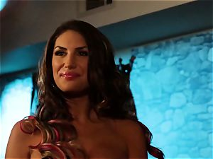 August Ames and Lily Cade cable on bed hook-up