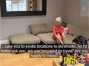 FakeAgentUK phat facial for steaming platinum-blonde milf
