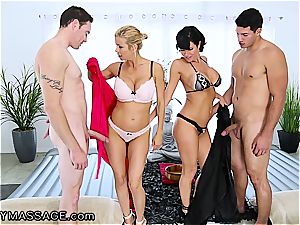 sensual massage by two kinky milfs concludes with yam-sized facials