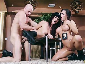 2 magnificent busty Cops Jayden Jaymes and Jenna Presley Interrogate wild Criminal