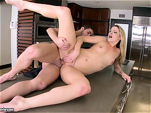 Samantha Ryan perceives the heat of her lover's jizz running in rivulets on her slits