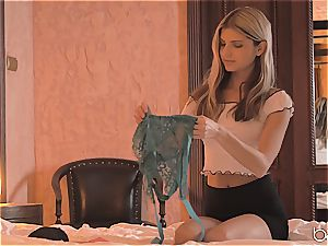 eyes covered Doris Ivy does bj and gets plumbed in her new lingerie