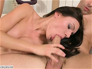 father with a pal tear up his big-boobed daughter-in-law in the backside. double penetration