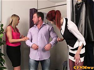redhead CFNM stunner deepthroating clients cock