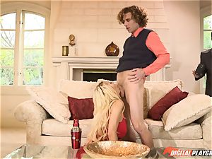 cool legs blond Courtney Taylor arrives to deep-throat