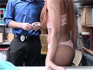 Morgan Rodriguez blasted by draped naughty mall cop