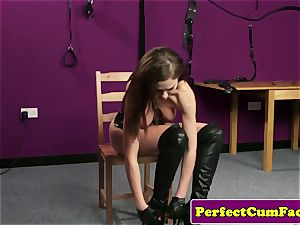 Leather fetish honey purrfectly jizzed on face