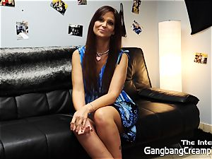 Syren De Mar interviewed and creampied by five fellows
