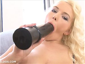 busty blond feeds her wet vag 2 yam-sized brutish faux-cocks