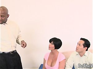 brunette wifey takes hefty dark-hued wood