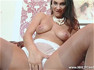 dark-haired massive udders frigs snatch in nylons high-heeled shoes undies
