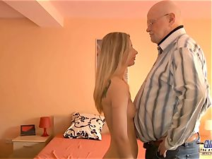 young secretary pulverizes elderly man manager plows marvelous female