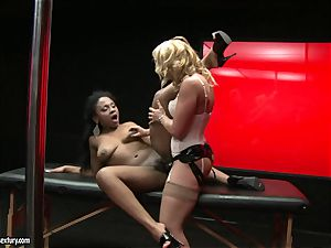 harsh Kathia Nobili thrusts her wire on sausage deep down her colleague facehole