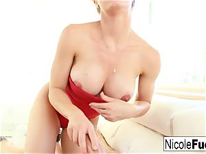 Nicole Aniston stares you down during a point of view suck off gig