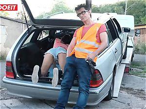 LETSDOEIT - nubile screws senior man For Free Car Repair