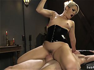 Rubber domina with strap on pulverizes dude
