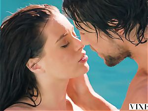adorable fetching female Lana Rhoades has lovemaking with her lovely chief in the pool
