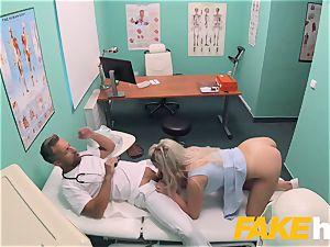 faux hospital rapid boinking gives platinum-blonde ample bosoms british