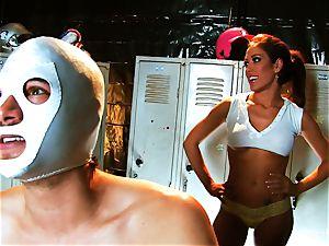 big-chested dark-haired Capri plows an aspiring luchador