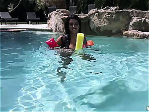 All congenital black-haired Latina in pov activity next to the pool