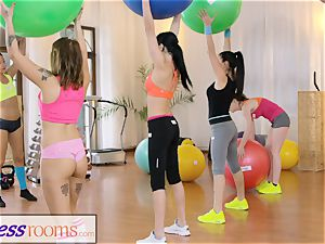 sport apartments Gym cougar and students have raw three-way