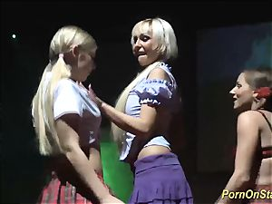 all girl hook-up fuckfest on public stage