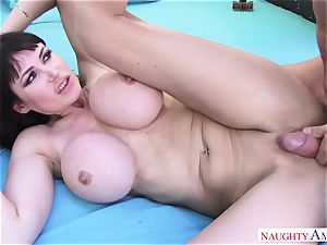thick dude Johnny Castle plows his huge-titted neighbor in the backyard