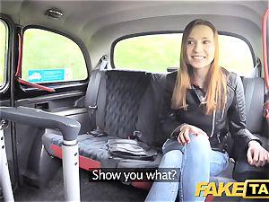 fake cab slender sandy-haired enjoys raunchy hookup