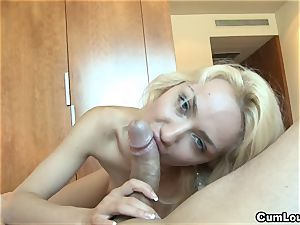 crazy platinum-blonde pleasing a large fuckpole with her palms