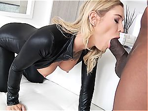 Kleio Valentien having joy with a ebony lollipop