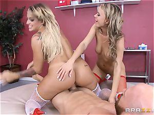 naughty nurses Kissa Sins and Pristine brim milk a scorching customer