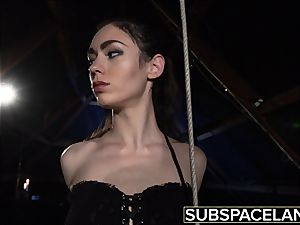 Arwen Gold bondage & discipline session with orgy toys and leather cane