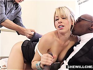 spectacular light-haired gf tears up big black cock For hotwife bf