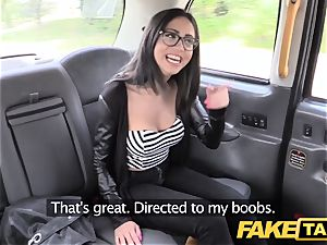 fake cab Spanish brunette with nice hairless gash