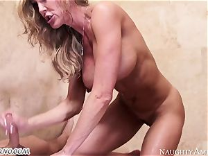 big-titted mummy Brandi enjoy with enormous boobies entices her stepson in the shower