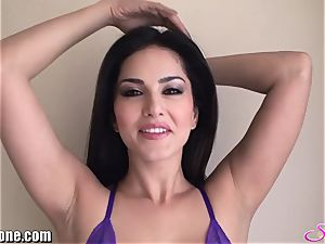 SunnyLeone Sunny Leone in marvelous purple lingerie