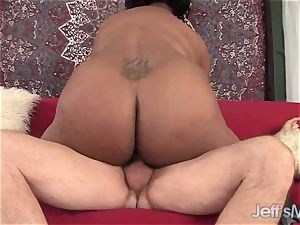 dark-hued bbw Marliese Morgan vs milky hard-on