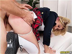 Stepsis in college uniform arches over for her stepbro