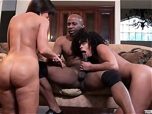 Lisa Ann and Misty Stone drool over this rock-hard wood