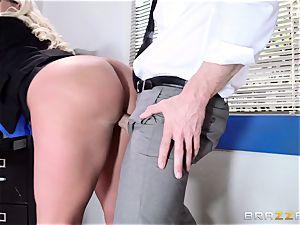 huge-boobed Julie Cash fucked across her work desk