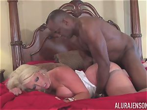Alura Jenson gets her pretty mouth packed with stiff ebony fuckpole