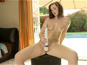 inviting Natalie lust vibrates her wet cooter