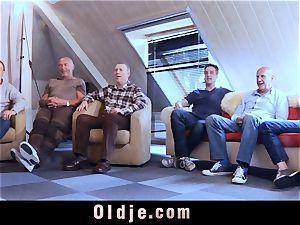 six oldman screwing in group a handsome torrid ash-blonde