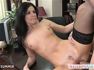 Stockinged India Summer boinking on the desk