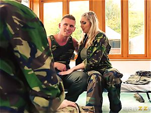 Army babes Lexi Lowe and Stella Cox get a double helping of spear