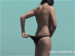 nudist beach two sexy brunettes