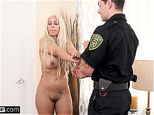platinum-blonde mummy lets a police officer in her cock-squeezing muff