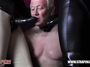 Femdoms spandex dominate tag crew sissy face shag strapon