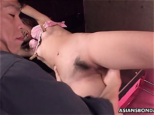 moaning chinese mega-slut getting her drenching raw gash played